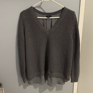 Gray Torrid sweater chiffon trim & lace up back